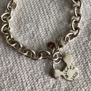 Mickey Mouse chain lock sterling silver bracelet.